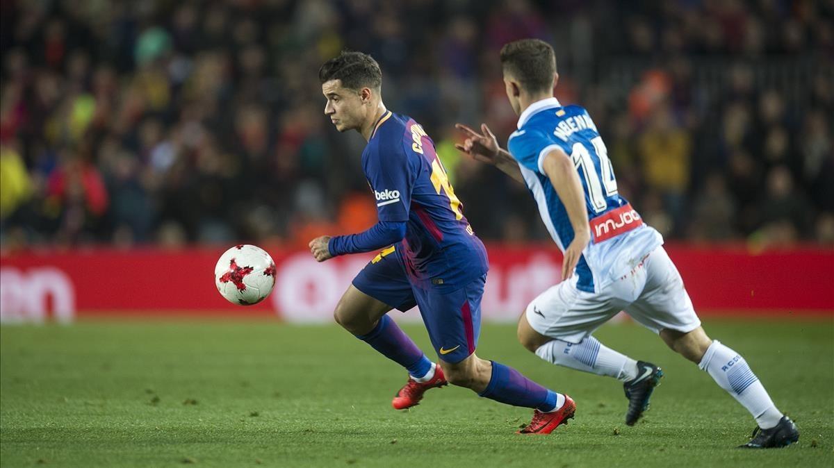 Coutinho y Melendo, en el derbi copero del Camp Nou.