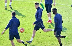Cristiano Ronaldo, en el centro, durante el último entrenamiento de la Juventus en Turín.