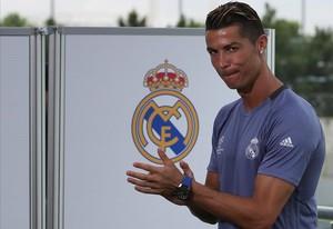 Cristiano Ronaldo, durante la jornada de puertas abiertas a la prensa de este martes en Valdebebas.