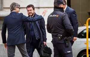 El vicepresidente catalán, Pere Aragonès, entra al Tribunal Supremo, este martes 23 de abril