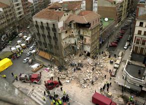 Un edificio derrumbado, en una foto de archivo.