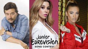 El productor Pablo Pinilla, Natalia y María Isabel, jurado español de Eurovisón Junior 2019
