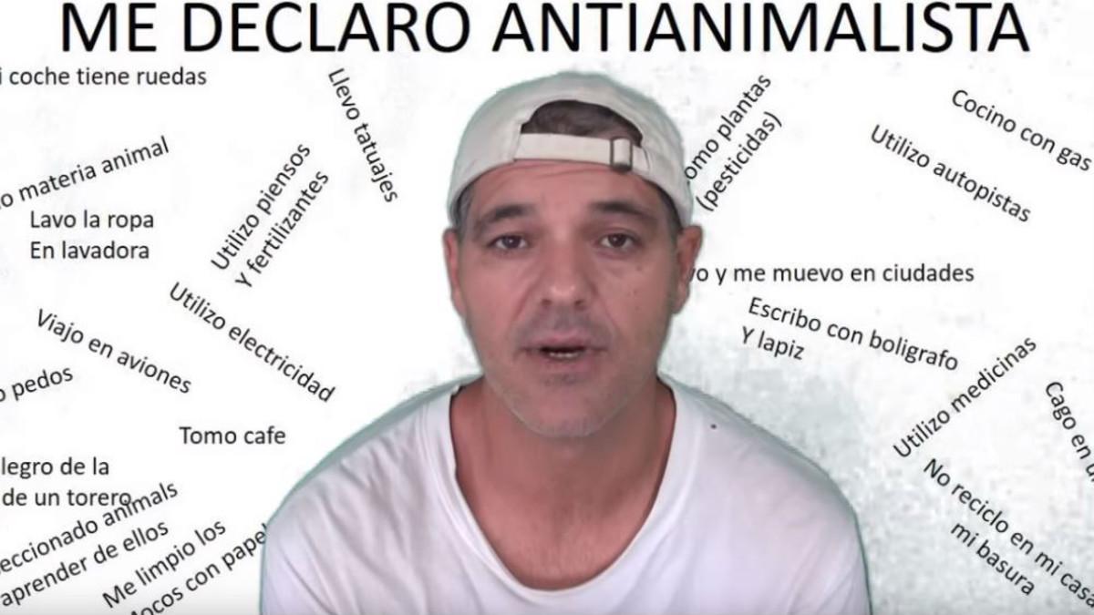 Captura del vídeo donde Frank Cuesta se declara antianimalista.
