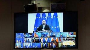 Imagen de la cumbre europea telemática.
