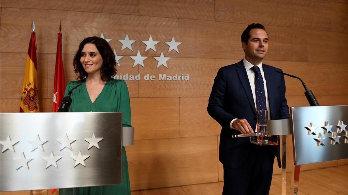 Isabel Díaz Ayuso e Ignacio Aguado, presidenta y vicepresidente de la Comunidad de Madrid, en su última rueda de prensa conjunta, el pasado 27 de agosto.