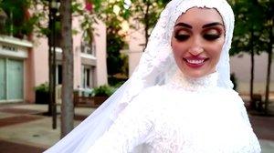 Israa Seblani, la novia que se salvó de morir en la explosión en Beirut.