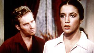Katy Jurado, ante la mirada de Charlton Heston, en un fotograma de Arrowhead.