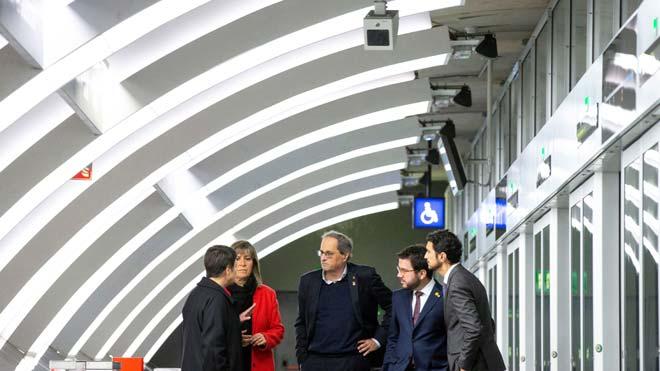 Las autoridades inauguran la estación de metro Ciutat de la Justícia de la línea L10 Sud en Barcelona.