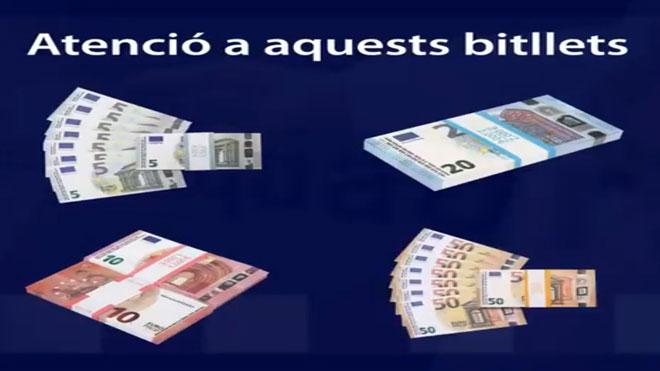 Los Mossos explican en un vídeo cómo detectar unos billetes falsos.