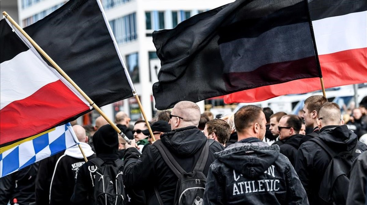 Manifestantes ultraderechistas en una protesta en Chemnitz, el pasado 1 de mayo.