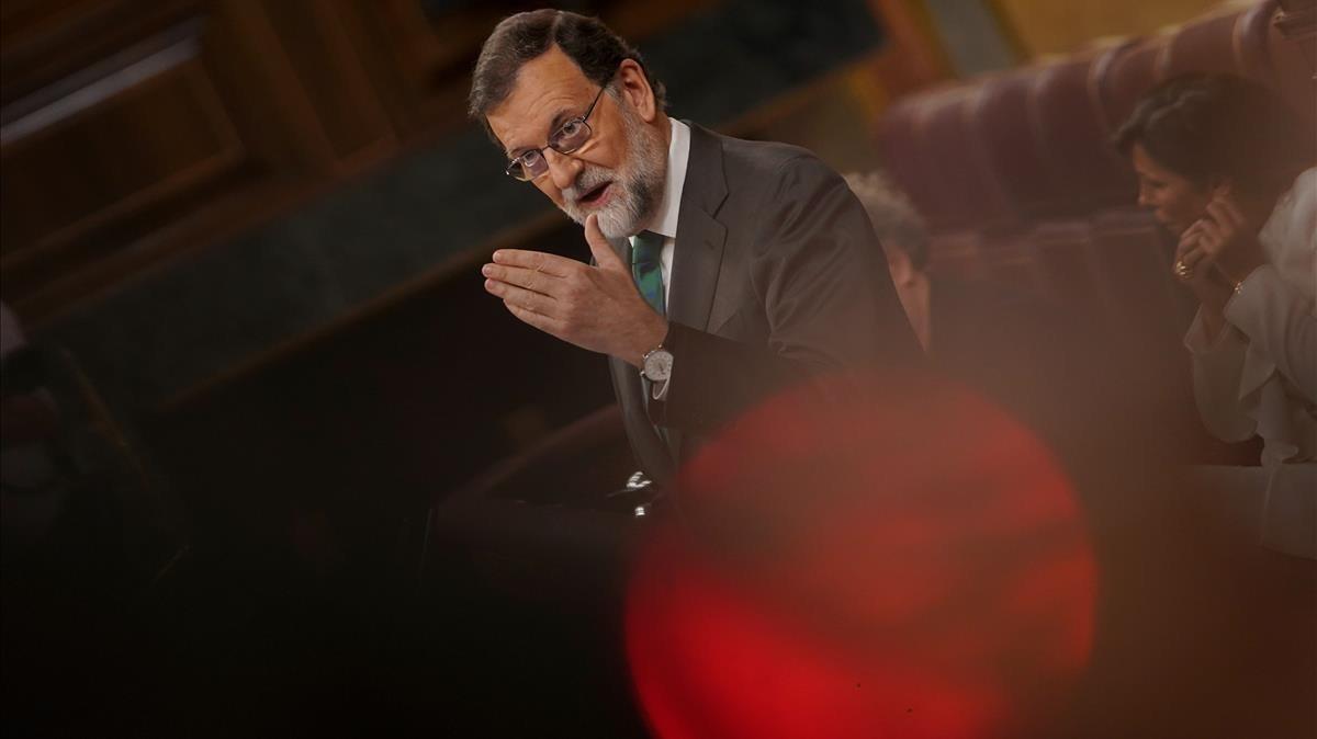 Mariano Rajoy durante su intervención en el pleno del Congreso de los Diputados.