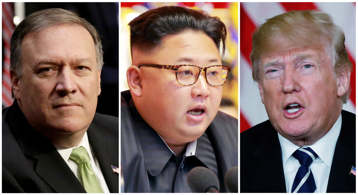 Mike Pompeo, Kim Jong-un y Donald Trump.