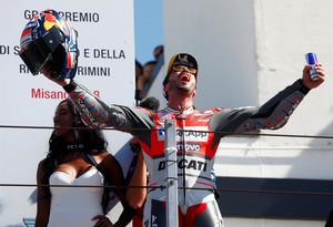 MotoGP - San Marino Grand Prix - Misano World Circuit Marco Simoncelli, Misano Adriatico, Italy - September 9, 2018 Ducati's Andrea Dovizioso celebrates his win on the podium REUTERS/Max Rossi