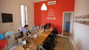 Oficina de la plataforma Airbnb en Barcelona.