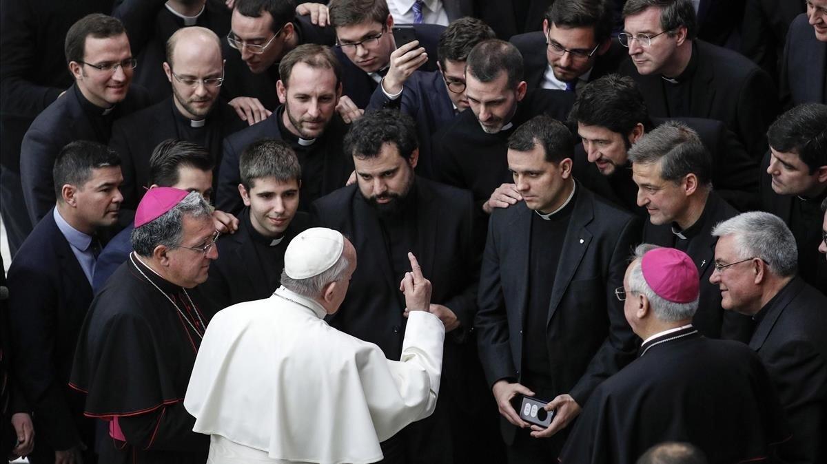 El papa Francisco, durante la audiencia semanal general de este miércoles.