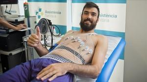 Pierre Oriola, en la revisión médica del Barcelona