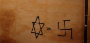 Pintada antisemita en una calle de Granada.