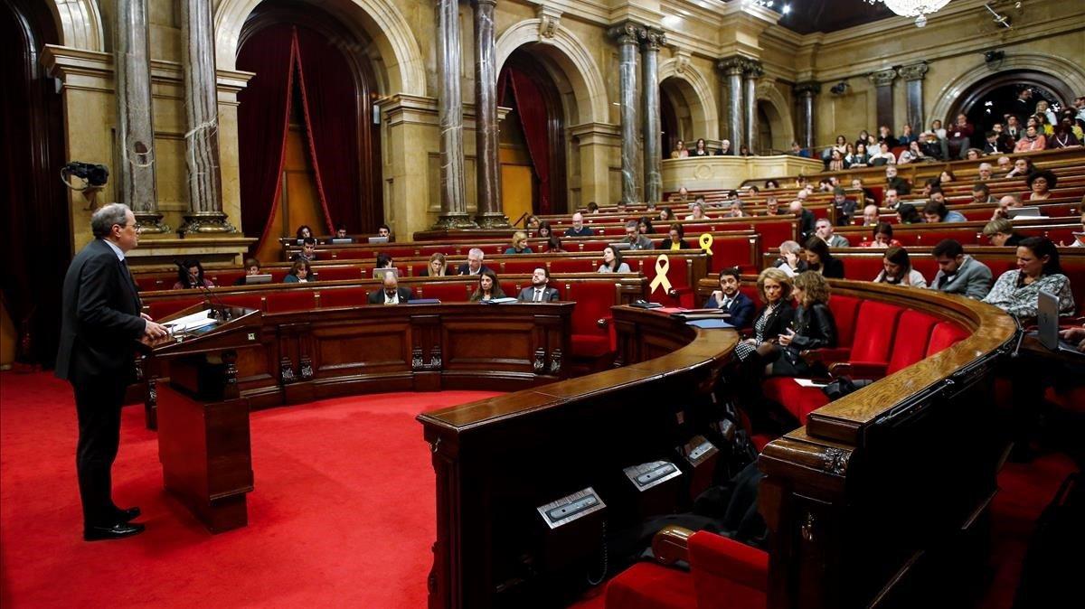 El 'president' Quim Torra interviene en el pleno sobre igualdad en el Parlament