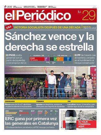 Portada de EL PERIÓDICO del 29 de abril del 2019.