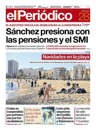 La portada de EL PERIÓDICO del 28 de diciembre del 2019