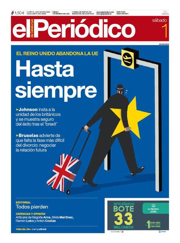 La portada de EL PERIÓDICO del 1 de febrero del 2020.