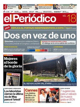 La portada de EL PERIÓDICO del 18 de mayo del 2019