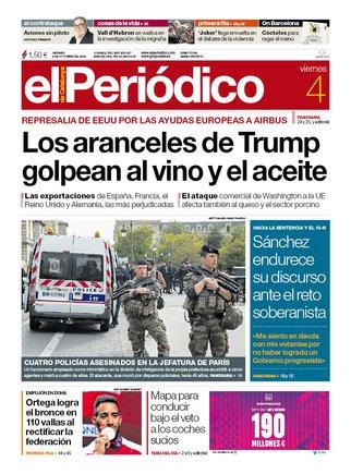 La portada de EL PERIÓDICO del 4 de octubre del 2019