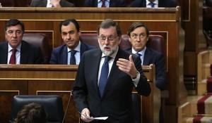 El presidente del Gobierno, Mariano Rajoy, en la sesión de control al Gobierno en el Congreso de los Diputados, este miércoles.