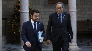 El presidente de la Generalitat, Quim Torra, y el vicepresidente del Govern, Pere Aragonès.