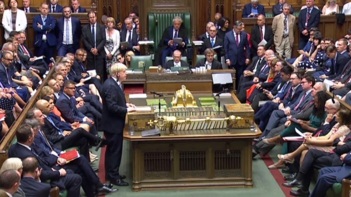 Primera intervención de Boris Johnson en el Parlamento como primer ministro.