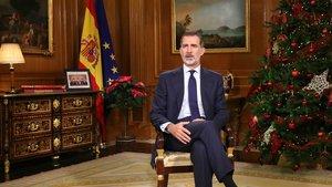 El rey Felipe VI, durante el discurso de Navidad, ofrecido en Nochebuena.