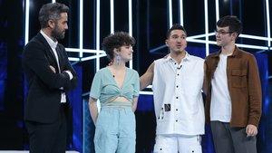Roberto Leal y los tres nominados de la gala 5 de 'OT 2020'.