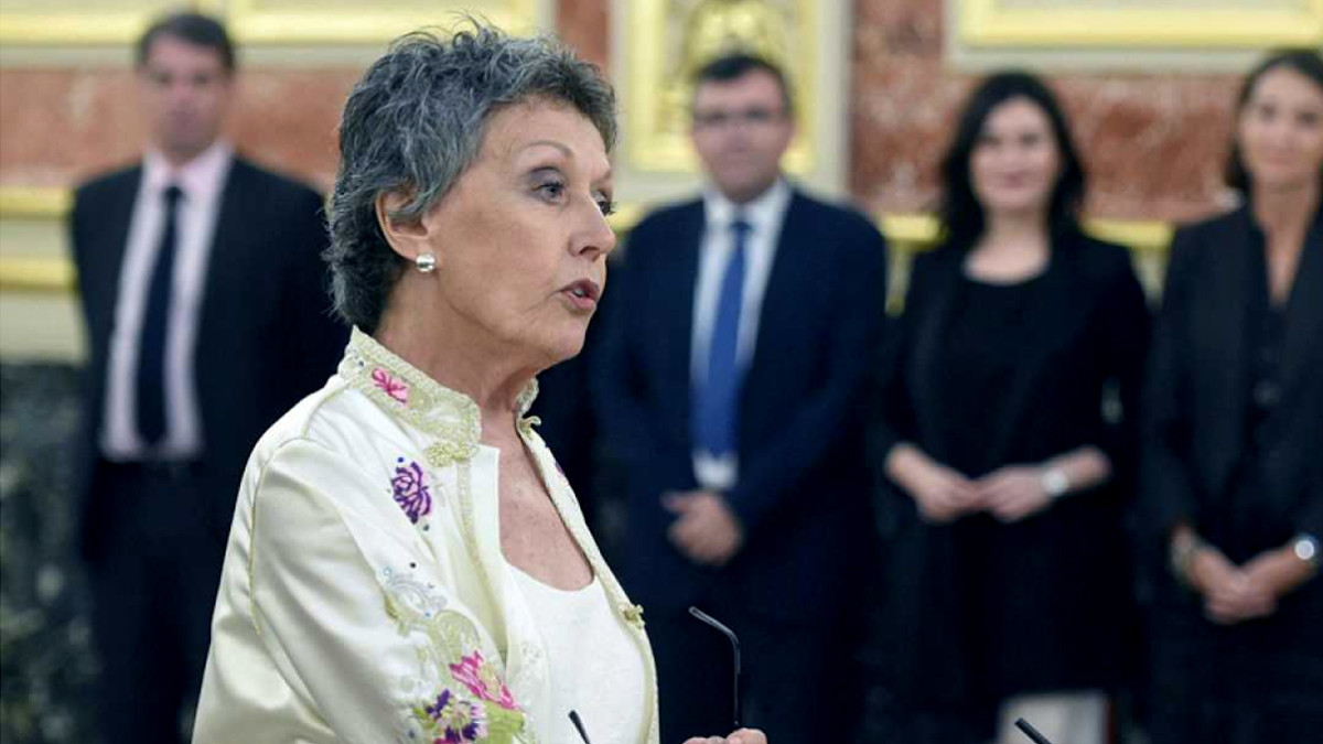 Rosa María Mateo, en su toma de posesión como administradora de RTVE.