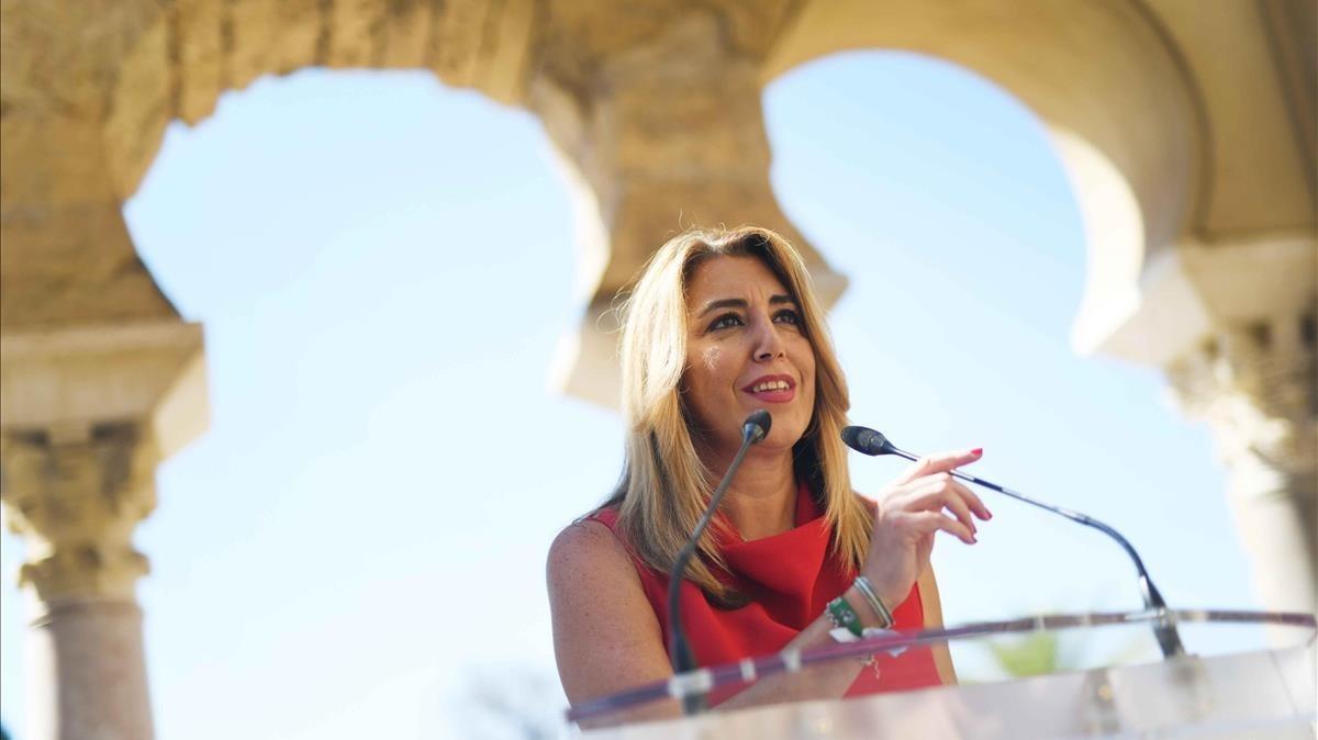 La presidenta de la Junta de Andalucía,Susana Díaz, en Medina Azahara (Córdoba)