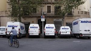 Una zona de carga y descarga en Barcelona.