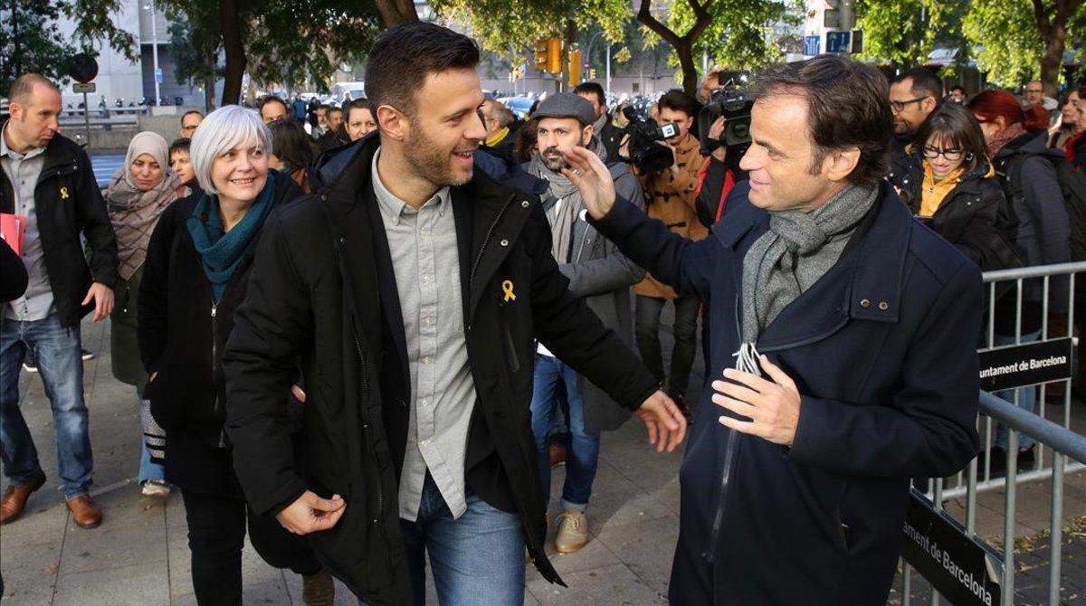 José Téllez, el pasado enero durante el juicio, junto a Jaume Assens.