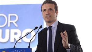 El candidato del PP, Pablo Casado, este lunes en Barcelona, durante la presentación de su programa electoral.