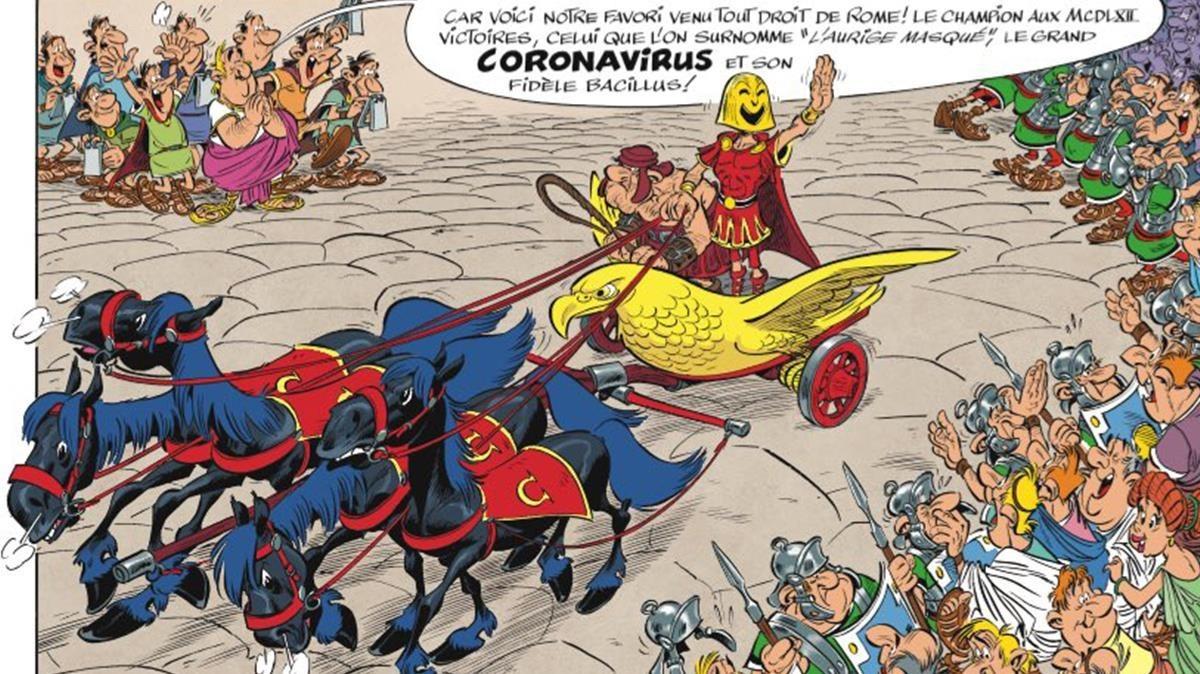 Viñetadel nuevo cómic Astérix en Italia, de Yves-Ferry y Conrad.