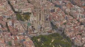Vista aérea de Barcelona, con la Sagrada Família, usada en el timelapse del youtuber Ideando.