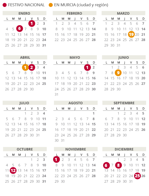 Calendario laboral de Murcia del 2021 (con todos los festivos)