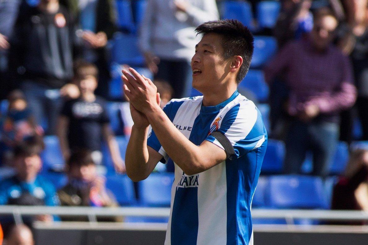 Wu Lei, durante el partido del Espanyol contra el Valladolid.