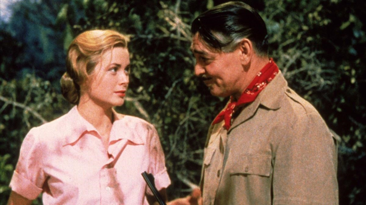 Grace Kelly y Clark Gable, en una escena de 'Mogambo'.