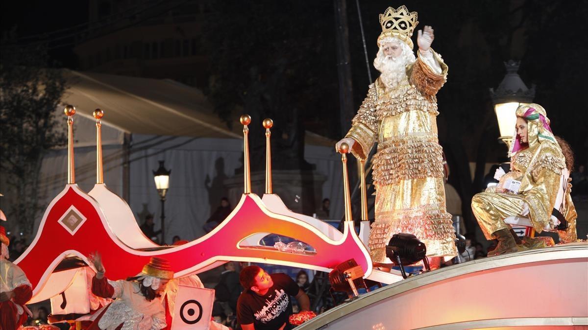 El rey Melchor, en una cabalgata.