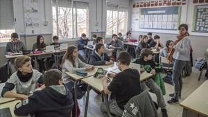 Aula de ESO en el colegio El Pilar de Premià de Mar.