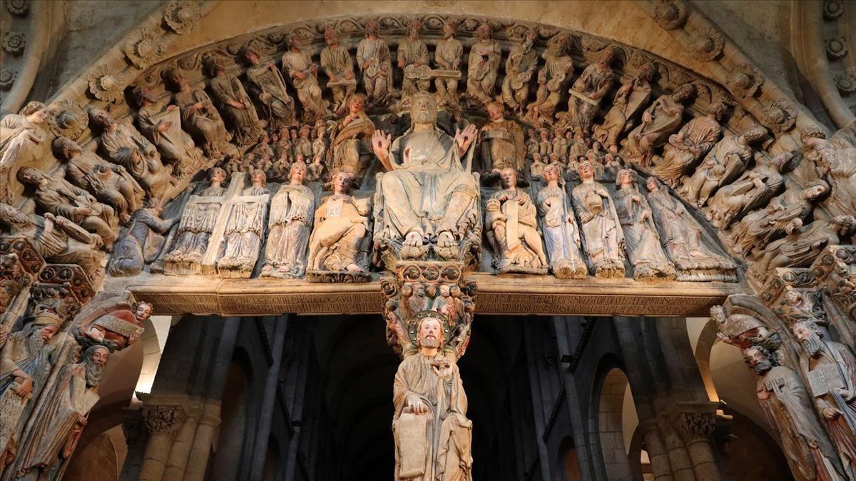 El pórtico de la Gloria de la catedral de Santiago de Compostela.