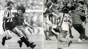 Goikoetxea y Maradona (Camp Nou, 24 de septiembre de 1983) y la tangana desatada en la final de Copa de 1984.