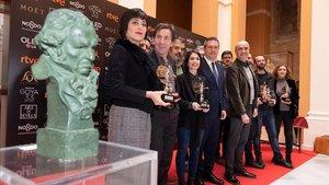Los nominados andaluces a los premios Goya 2019, el viernes en el Ayuntamiento de Sevilla.