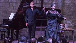 La cantante Joyce DiDonato y el pianista David Zobelen Vilabertran.