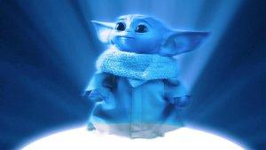 Baby Yoda con el color Pantone del año de fondo.