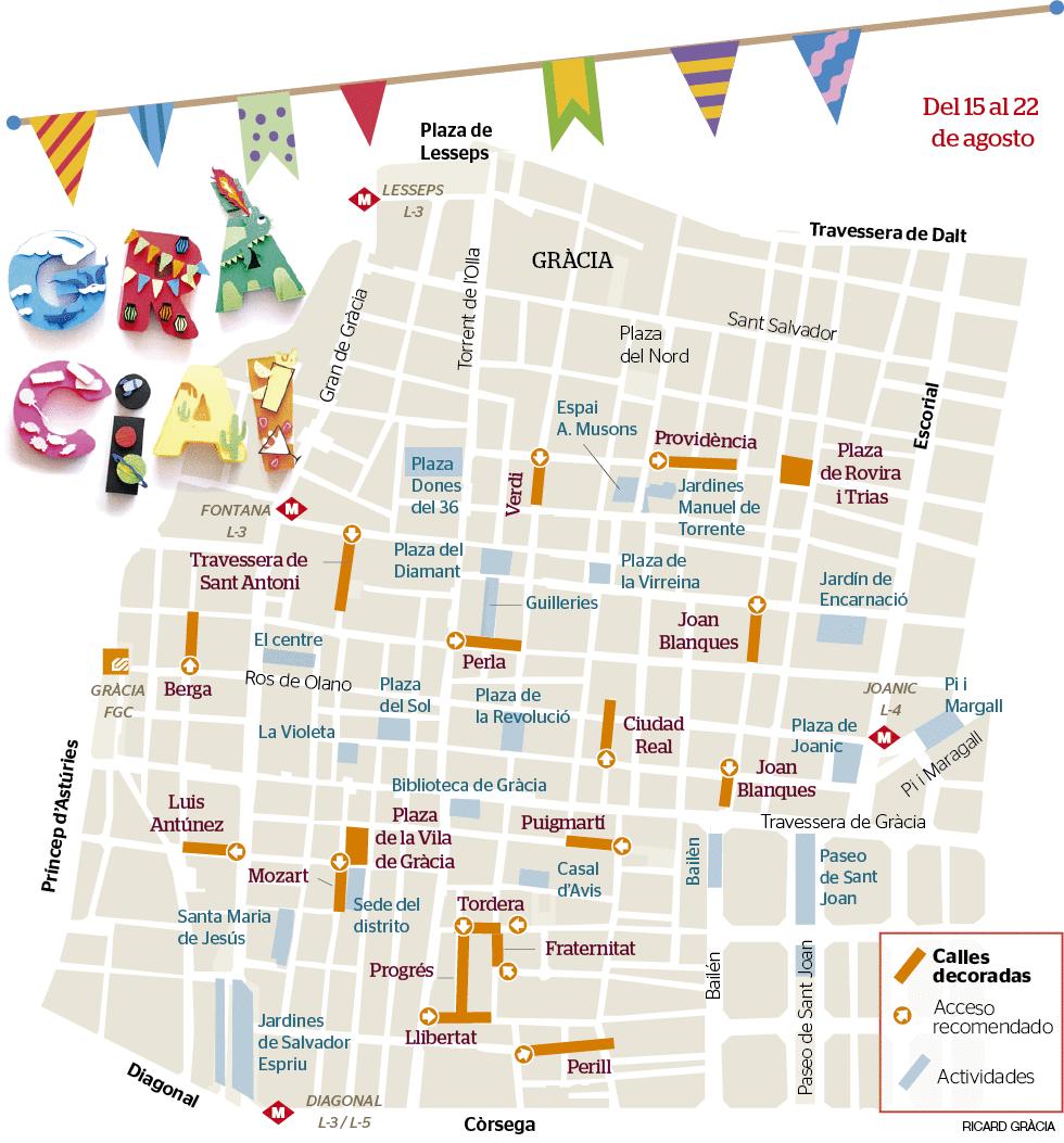Mapa De Barcelona Calles.Mapa De Las Calles Engalanadas En Las Fiesta Mayor De Gracia